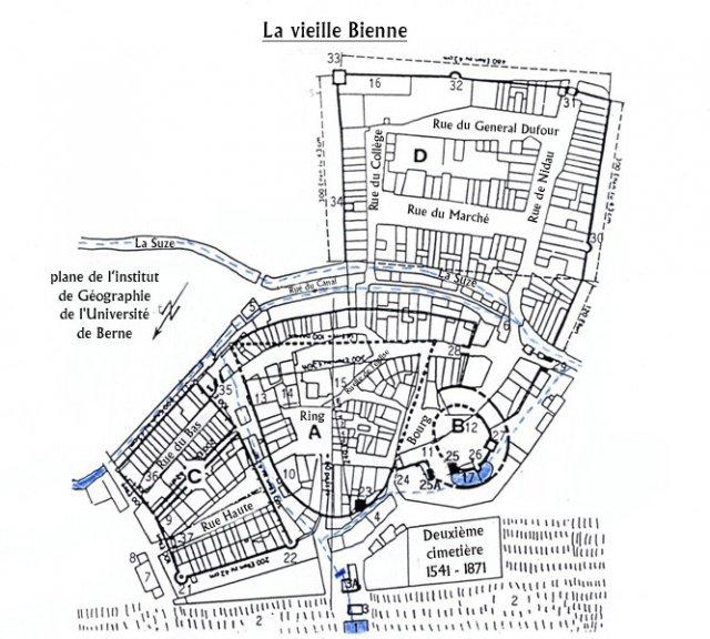 Vue générale de l'ancienne ville de Bienne